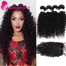 7a malaysian curly hair with closure deep wave with closure human hair 4 bundles with closure malaysian virgin hair with closure(China (Mainland))