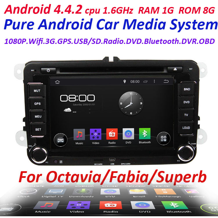 for skoda octavia superb fabia Pure Android 4.4 2 Din Car GPS with WIFI 3G GPS Capacitive screen car radio receiver 1.6Ghz(China (Mainland))