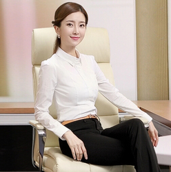 New Fashion Office Lady Slim White Collar Career Shirt Female Long-Sleeve Quality Lace Stitching Blouses Tops