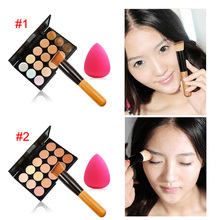 Fashion Women Professional 15 Color Makeup Cosmetic Contour Concealer Palette Make Up+Sponge+Concealer Brush ETS88