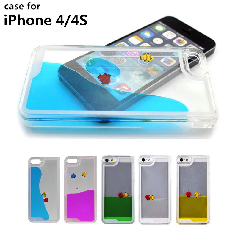 Sale Fashion Cell Phone Cases free fish swimming Liquid Flowing Plastic Case iPhone 4 4S Luxury Shell - Best-Elec store