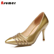 Plus size 34-48 NEW hot sale thin heel women pumps pointed toe cut outs simple fashion high heels ladies dress shoes  gold(China (Mainland))