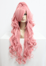 MCOSER Free shipping 90cm Long VOCALOID-Megurine Luka Pink Cosplay Costume Anime Wig+one ponytail(China (Mainland))