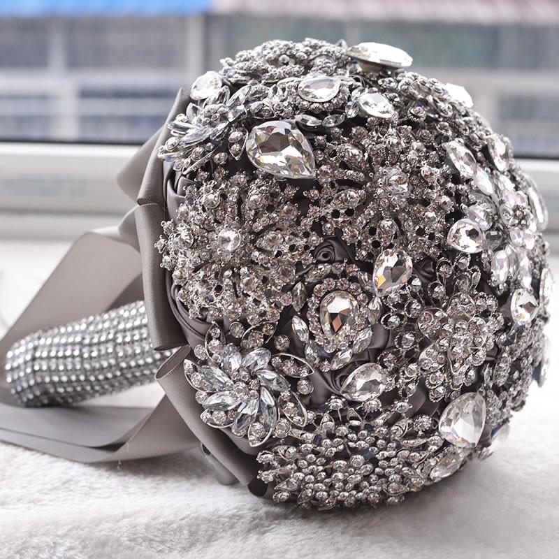 hot luxurious wedding accessories brooch bouquet ivory gray crystal wedding bouquet silk wedding. Black Bedroom Furniture Sets. Home Design Ideas