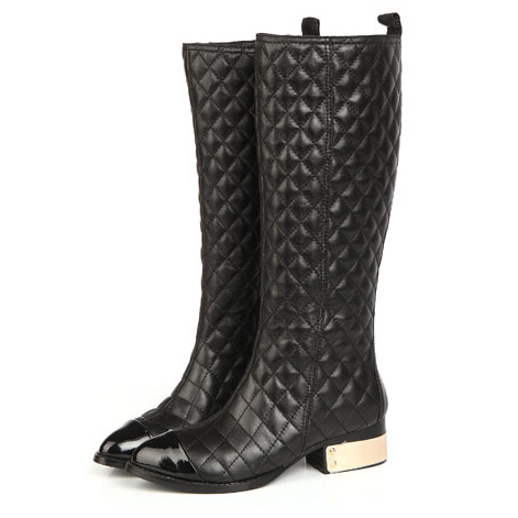 new 2014 famous brand boots women women genuine leather long boots ladies black flat knee high quilted boots autumn winter B31(China (Mainland))