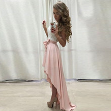Pink Chiffon High Low Skirt Ribbons Waist Floor Length Asymmetrical Skirt Summer Style Skirts Women