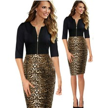 New Style Spring and Summer Women Dress Half Sleeve O-neck Printed Leopard Zipper Bodycon Dress Casual Plus Size dp853734(China (Mainland))