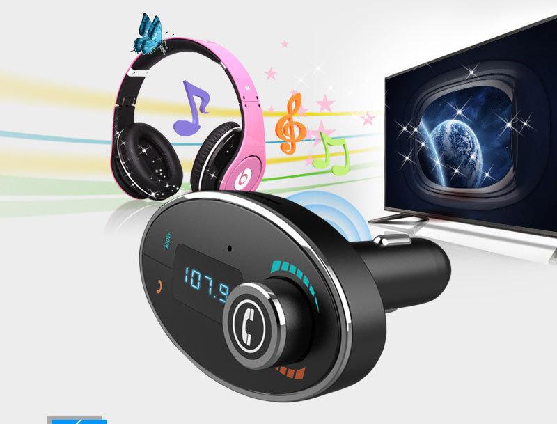 New arrival BT-C1 Handsfree Wireless Bluetooth LCD MP3 Audio Player Car Kit SD MMC USB Charger FM Transmitter Modulator(China (Mainland))