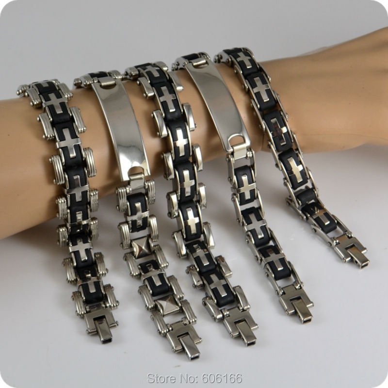5 Design MIX Stainless Steel Bracelet Mens Chains Bracelets Fashion Jewelry Lot Wholesale<br><br>Aliexpress