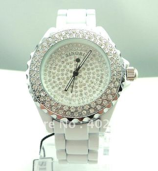 Wristwatches Free Shipping Luxury Sinobi Brand Watch White Ceramic full crystal women dress watch W6523