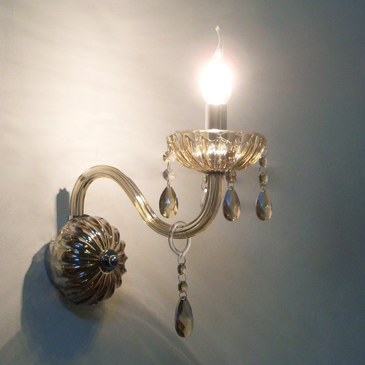 Christmas ! Cognac Vintage Crystal Wall Lamps Light with Candle Bulb restroom bathroom bedroom ...