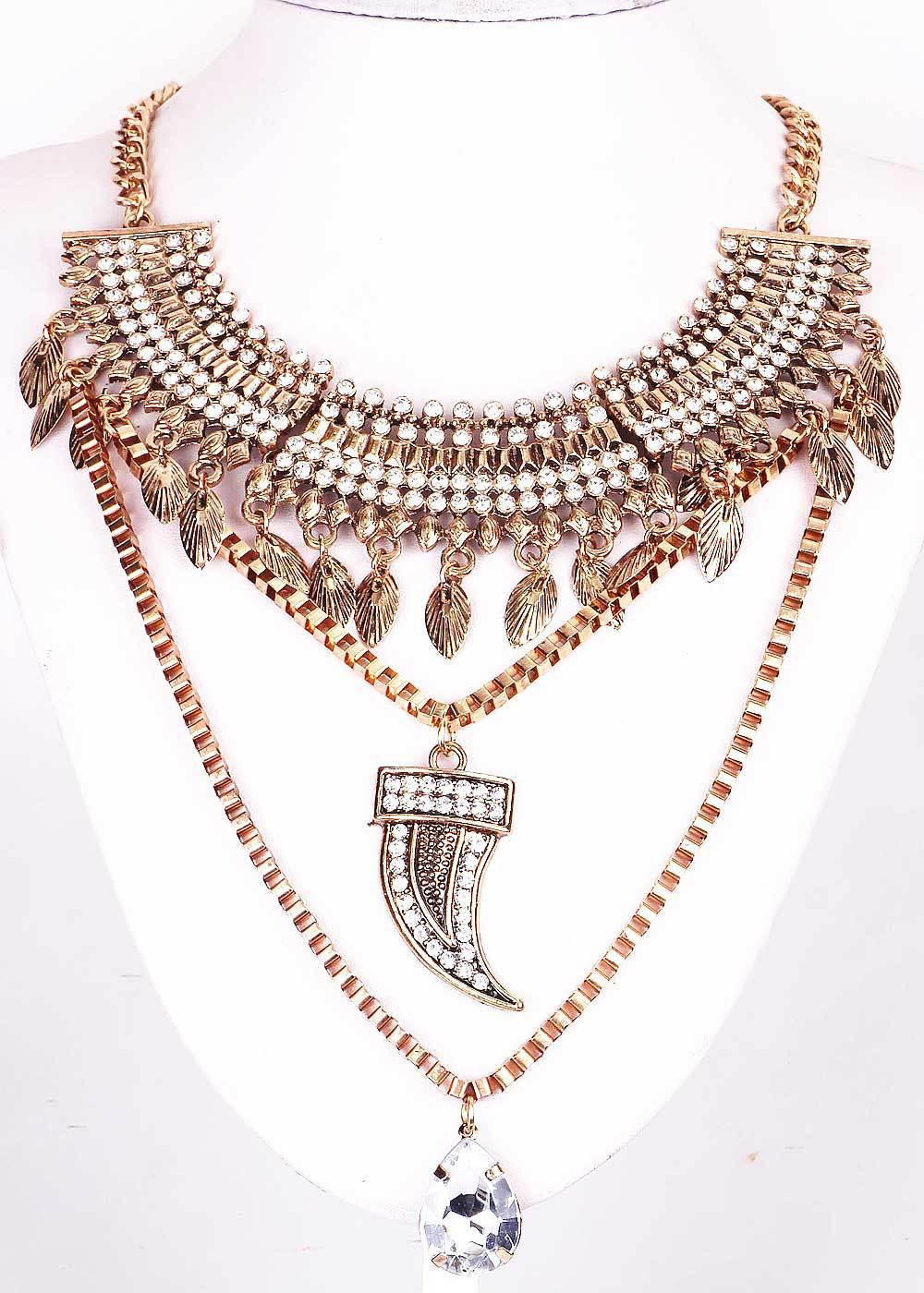 New Handmade Fashion Woman ethnic Antique Gold/silver Dagger Style Pendant Crystal Bib Statement Chunky Choker Necklaces(China (Mainland))