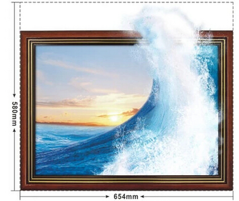 Free Shipping The waves of the sea 3D Art Wall Decals/Removable PVC Wall stickers or your home or office Decor 58*65.4cm(China (Mainland))