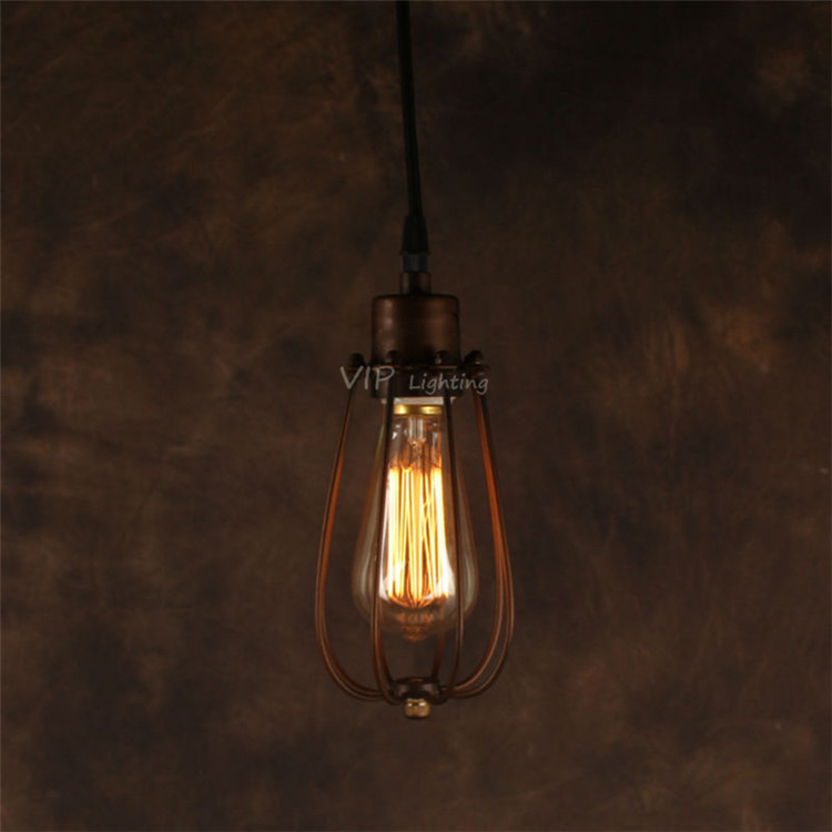American country Loft style light Antique cage lamp Restaurant Coffee Bar counter Pendant Lights Lamp give bulb as gift E27 25cm(China (Mainland))