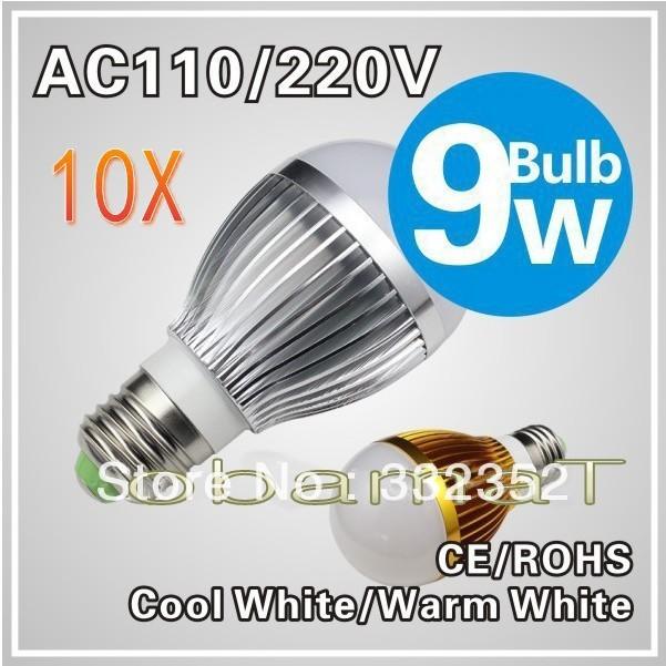 10X E279W LED bulb,Dimmable Bubble Ball Bulb AC85-265V ,E14 B22 GU10,silver/gold shell color,warm/cool white,3*3w +freeshipping