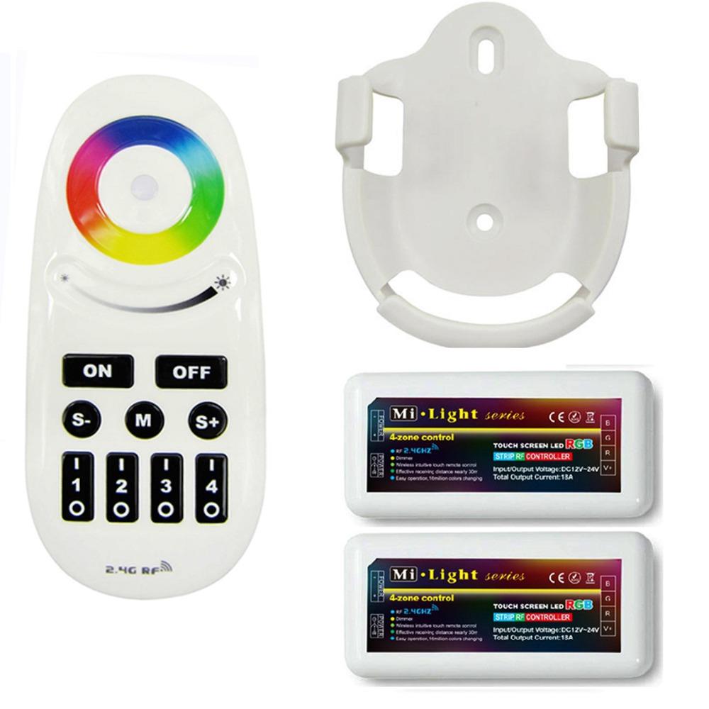 Здесь можно купить  NEW 1pcs Mi.Light 2.4G RF Remote With Wall Bracket + 2pcs 12V 4-Zone Dimmable RGB Controller FOR 5050 3528 5630 LED Strip  Свет и освещение