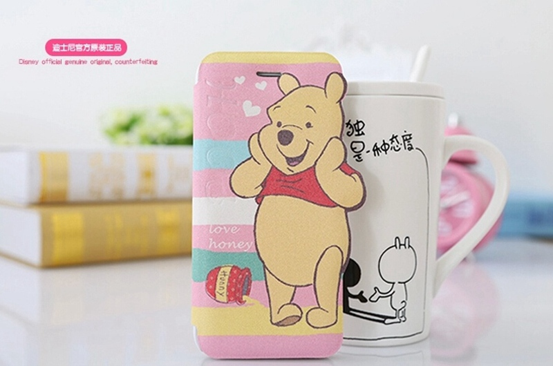For iPhone 6 X-doria Cartoon Happy Pooh PU Leather Housing Case Cover Mobile Phone Bag For iPhone 6 Free Shipping Dropship(China (Mainland))