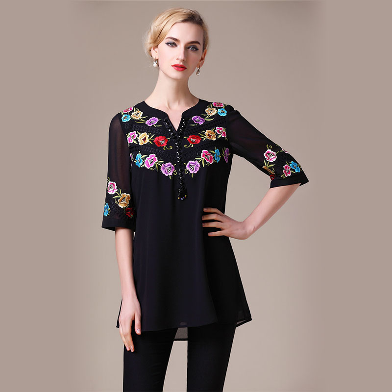 beading Vintage Half Sleeves Coloful Flowers Embroidery Black White Blouse plus size high quality fashion shirts blouses 160303(China (Mainland))