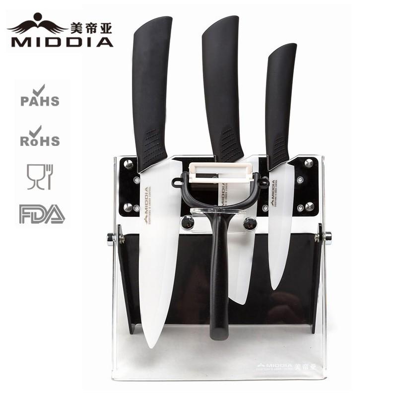Buy Middia 5pcs ceramic kitchen knife set with block ceramic paring knife+santoku knife+chef's knife+peeler cheap