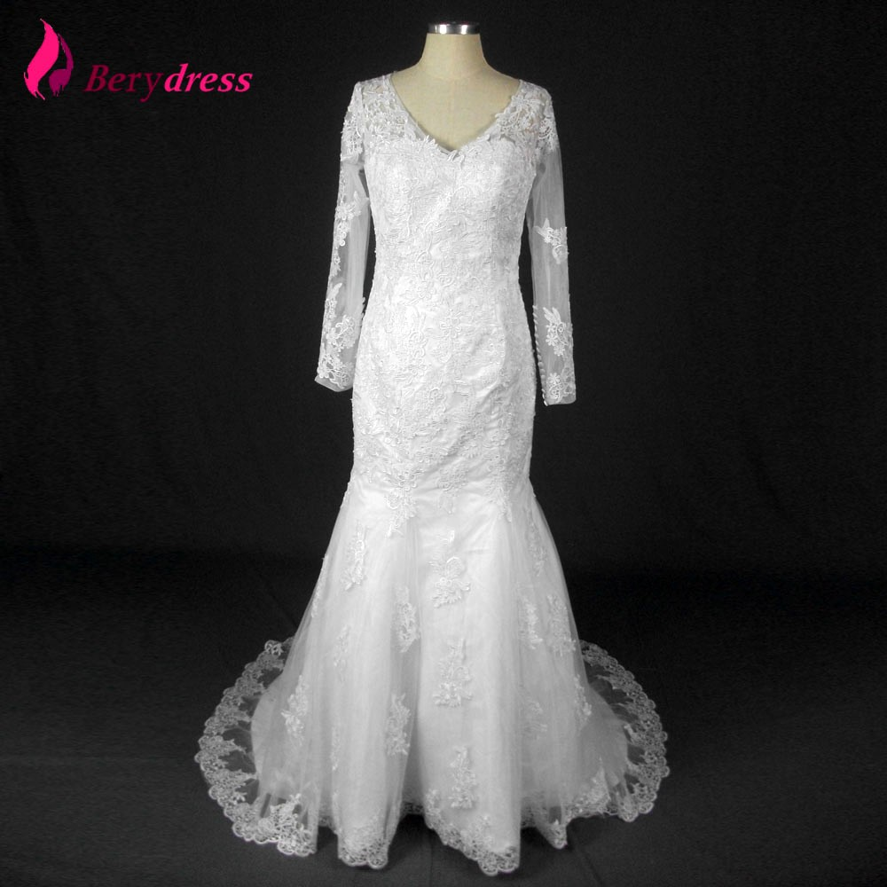Berydress real image wedding trumpet lace appliques full for See through lace wedding dress