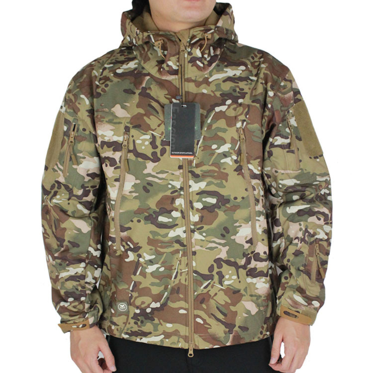 Men's Softshell Windbreaker Water repellent Jacket Outdoor Military Camouflage Airsoft Hunting Camping Hiking Coat W/ Hood(China (Mainland))