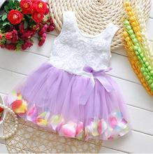 2015 Summer Cotton Baby Aestheticism Fairy Tale Petals Colorful Dress Chiffon Princess Newborn Baby Dresses For Free shipping(China (Mainland))