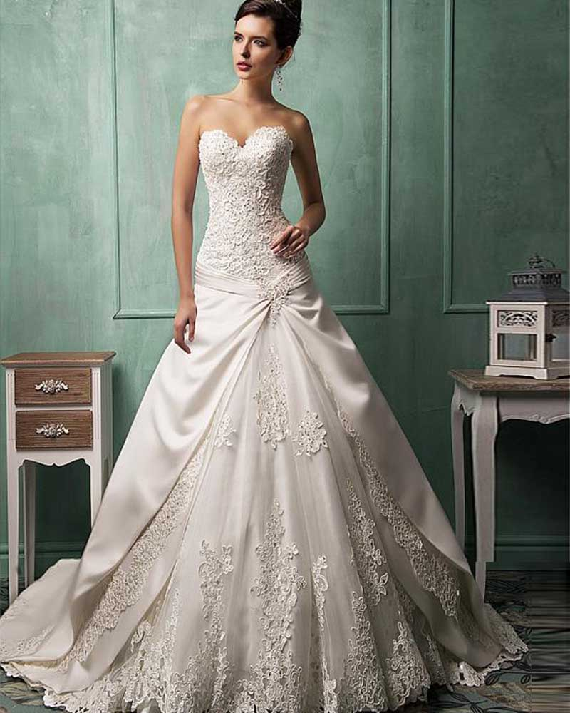 2016 New Design Sweetheart Lace Up Gorgeous Appliques A-Line Wedding Dresses Plus Size 2016 High Quality Buy Direct From China(China (Mainland))
