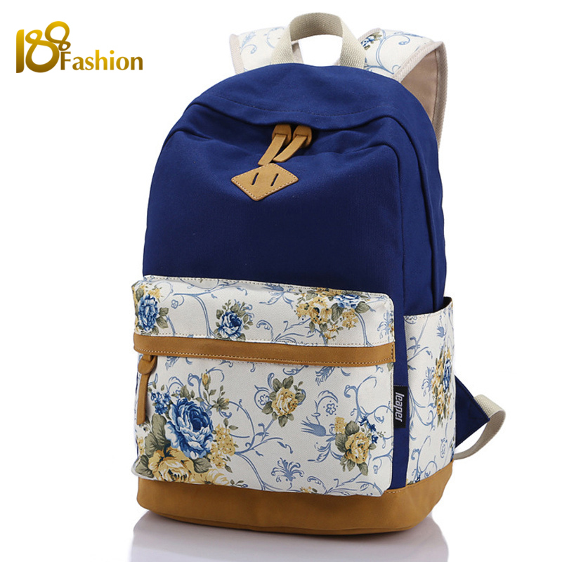 Floral Printing Canvas School Backpack Bags for Teenagers Girls Fashionable Backpacks Satchel Rucksack Mochila Women Backpack