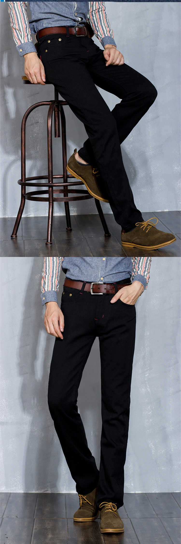 New Fashion Style Black Male Jeans Straight Zipper Fly Youth Popular Men Trousers Slim Looking Solid Good Quality Comfortable