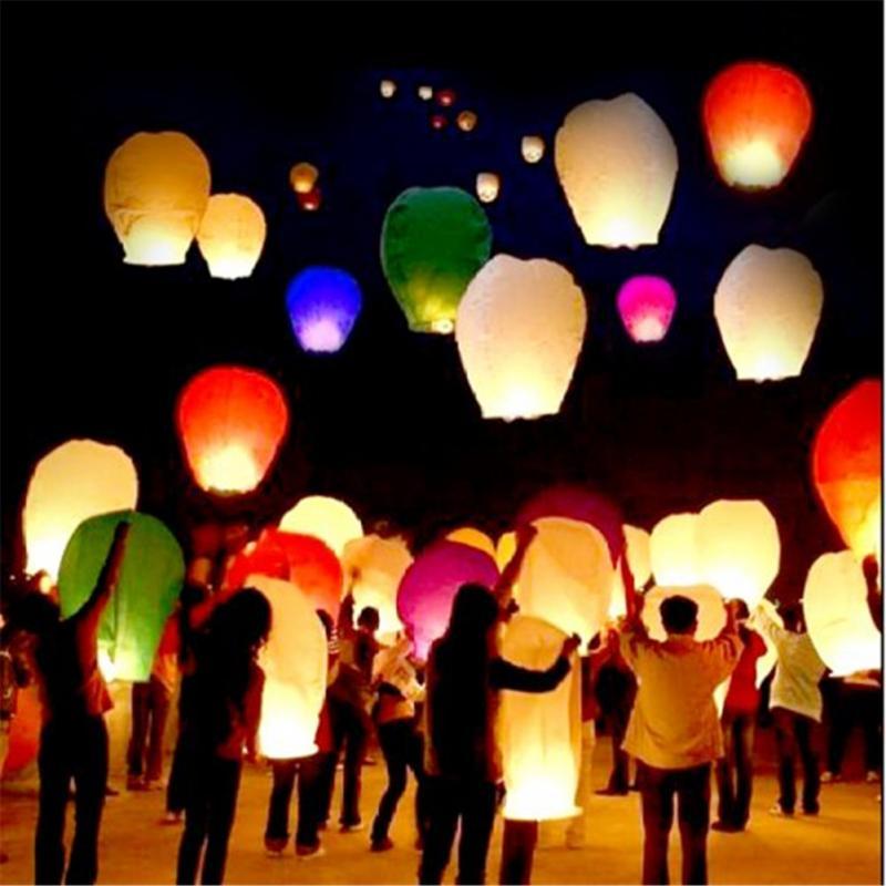 20PCS Colored Lanterns Sky Lanterns Chinese Wishing Lantern For Birthday Wedding Party(China (Mainland))