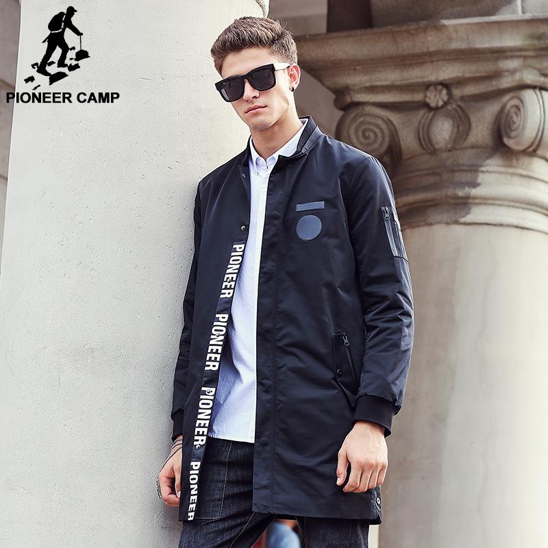 Пионерский Лагерь 2017 Новый стиль длинные Траншеи Пальто Мужчины марка одежды мода Длинные Куртки Пальто бренд-одежда мужская Шинель 611311