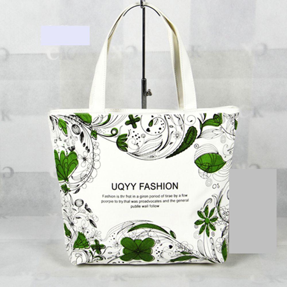 Fashion Green Ladies Canvas Tote Bag Zipper Women's Shoulder Eco Bags Handbags Shopping Beach Gym Zip Free Shipping Lady Women(China (Mainland))
