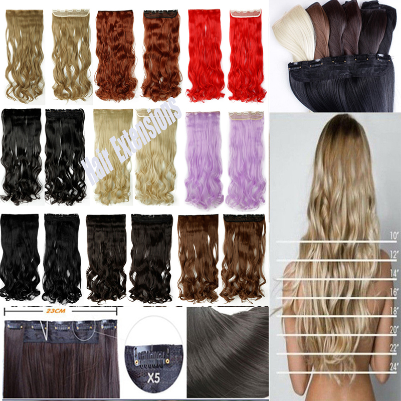 Best Selling Womens Girls Pretty 24''3/4 clip in hair extensions Full head black brown blonde auburn red 18 color Super sale(China (Mainland))