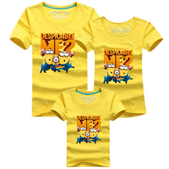 Family fitted T-shirts boys Girls T Shirt Despicable Me 2 Minions Short Sleeve Baby Children T-shirts Tee Child Clothing