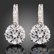 Women 18k white Gold Gp clear crystal jewelry stud  earrings zircon brass Material 1GYE(China (Mainland))
