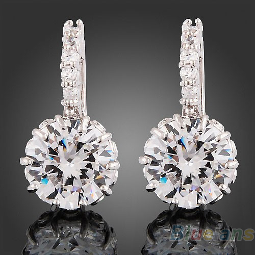 Women 18k white Gold Gp clear crystal jewelry stud earrings zircon brass Material 1GYE(China (Mainland))