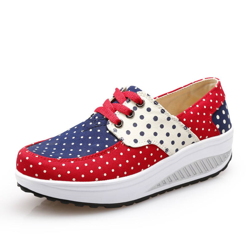 wedge canvas shoes women 2016 new wedge high heels casual shoes loose weight swing Shoes body Shaping Platform tenis feminino(China (Mainland))