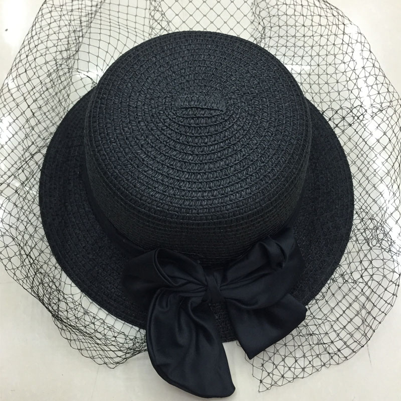 Summer hat women 2016 cappelli di paglia chapeaux pour femme hut damen sommer visera mujer lace bow straw sun kentucky derby hat(China (Mainland))