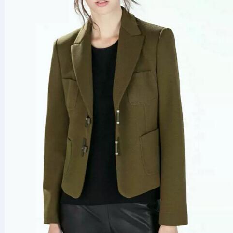 Женщины Армия зеленый офис Blazer с длинным рукавом зубчатый карманы верхней одежды ...