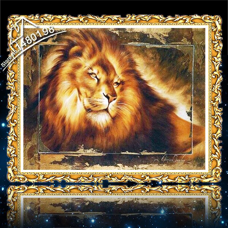 100% Full Area Highlight Diamond Needlework DIY Diamond Painting Kit 3D Diamond Cross Stitch Animal Embroidery Mosaic 5D Lion