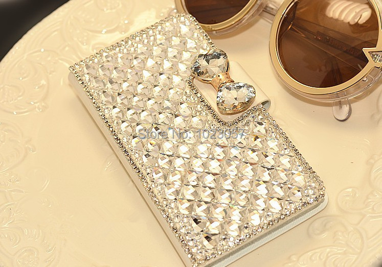 Elegant Crystal Rhinestone Wallet PU Leather Case Cover For Alcatel One Touch Pop C5 5036 OT5036 5036D(China (Mainland))