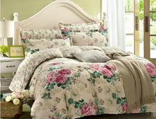 Fushica and Osyter flowers duvet cover flat sheet pillowcase 3pc/4pc bedding set 100% cotton twin full queen king four size(China (Mainland))