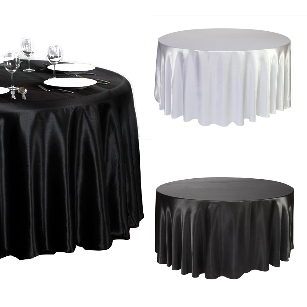 "8 pieces 120"" Inch round Satin Tablecloth White/Black Color Table Cover Wedding Banquet(China (Mainland))"