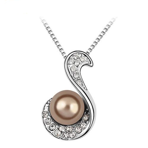 Top Genuine Crystal Pearl Pendant Necklace SWAROVSKI ELEMENTS Pendant Necklaces Crystal with SWAROVSKI Classical Women Jewelry(China (Mainland))