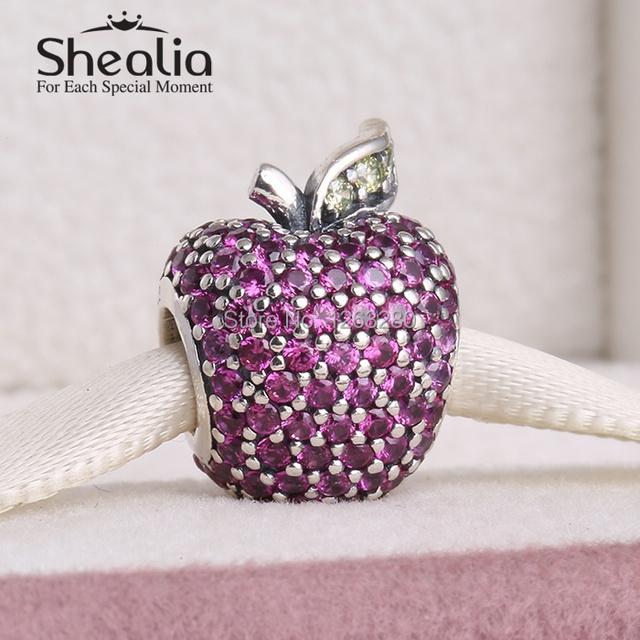Весна коллекция 925 чистое серебро вымощает apple подвески-талисманы с причудливыми красный и салатовый cz подходит браслеты SH0607