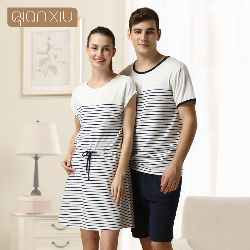 2016 Special Offer Sale Sashes Striped Gecelik Qianxiu Brand Lingerie Girl Sexy Sleepshirts Cotton Nightgown Kintted Underwear(China (Mainland))