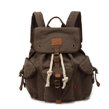 E0199 Unisex Camping Hiking Leisure Canvas Backpack Travel Bag Student Schoolbag Khaki Coffee Color Army Green Wholesale(China (Mainland))