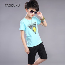 Sport Suit Outfit Kids Boys T Shirt Shorts Set Children Short Sleeve Shirt Clothing Set Kids Boy Bulb Abstract Hot Sale Summer(China (Mainland))