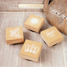 DIY Vintage Stamp With Cute Inkpad Eiffel Tower Crown Lace Stamp Wooden Rubber Stamps For Scrapbooking Seal Wax