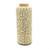 Gold and milk white 100yard/spool colorful Cotton Bakers Twine cake&cookie packaging twisted cotton rope for Gift Packing Rope